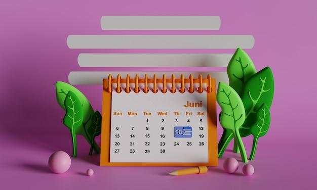 ワークデスクカレンダー3dレンダリング