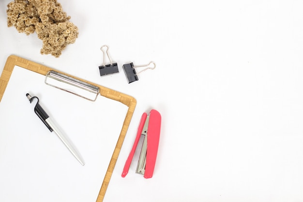 Work desk complete with equipment isolated on white background