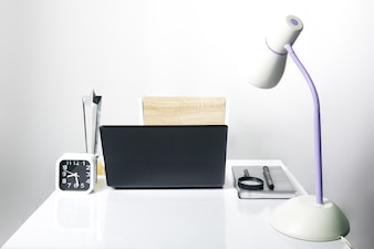 Work desk in room on gray background