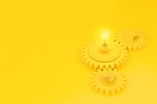 Work desk and light bulb yellow color