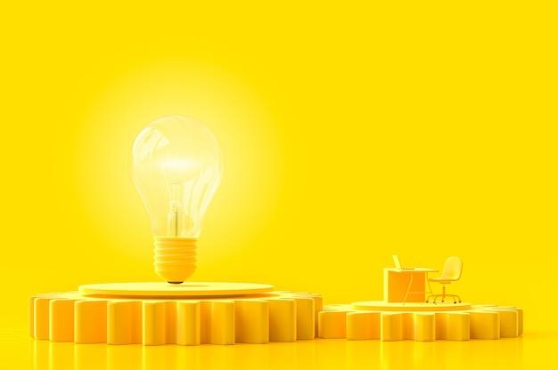 Work desk and light bulb yellow