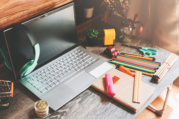 Work desk with office supplies - work from home concept