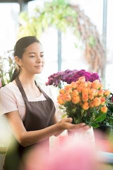 Work in florist shop