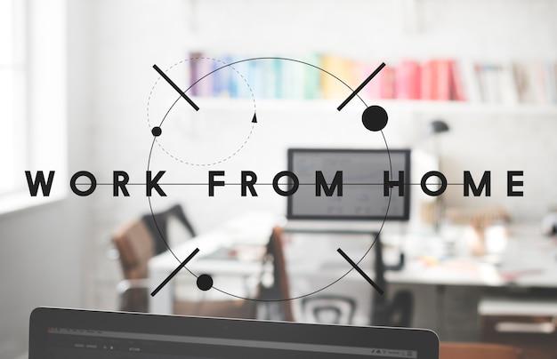 ホームハウスインテリアオフィスビジネスコンセプトからの作業