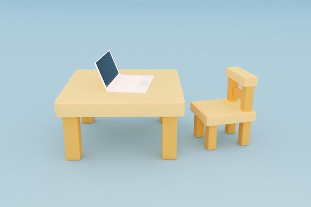 집에서 책상 위에 노트북 컴퓨터와 나무 의자 3d 그림으로 작업