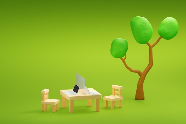 Work at garden with laptop and partition shield for social distancing 3d illustration