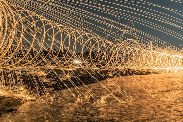 The work of glowing sparks from spinning steel wool by human