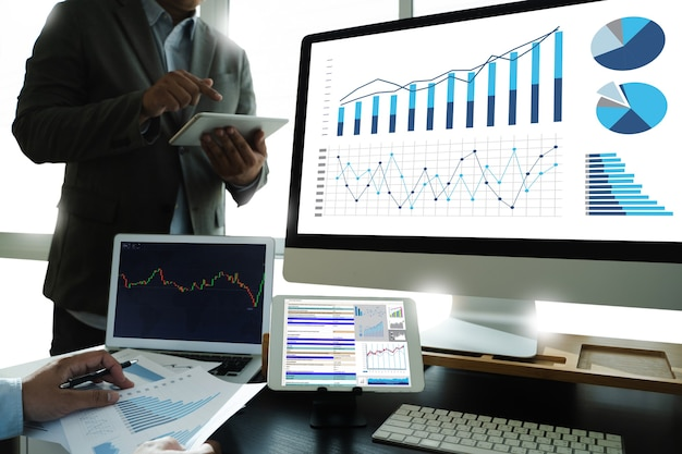 Work hard data analytics statistics information business technology investment trading a stock exchange