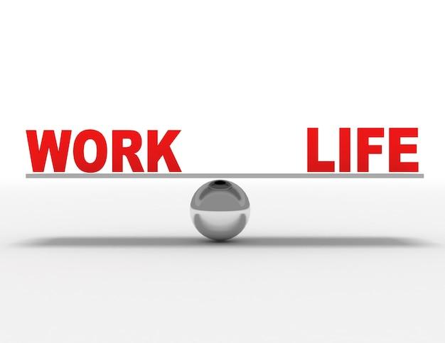 직장 생활 balacne 개념입니다. 3d 렌더링 된 그림