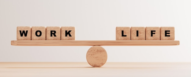 Work and life wording on wooden cube block on seesaw for balancing by 3d render.