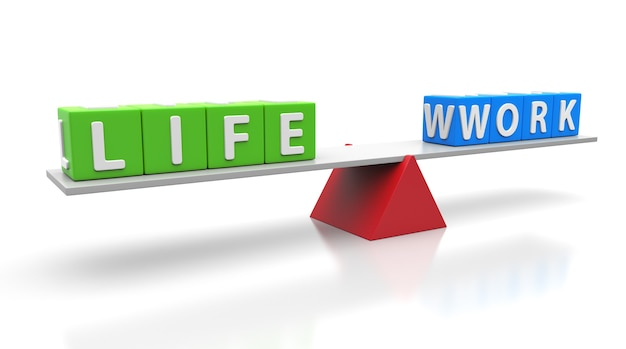 Work life words balancing on a seesaw. balance concept. 3d illustration