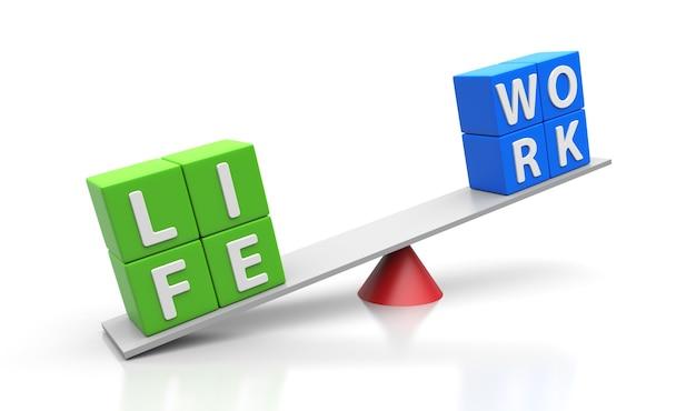 Work life words balancing on a seesaw. balance concept