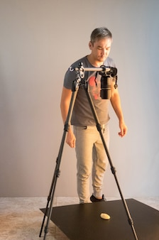 The work process of the photographer in the studio. unintended photography