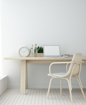 Work space interior background in hotel wall painted - 3d rendering minimal japanese