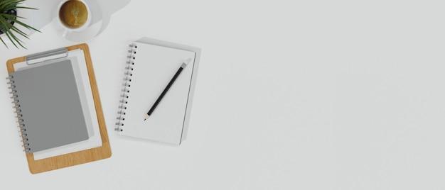 作業スペースミニマルスタイルホワイトデスクノートブック付き鉛筆コピースペース製品展示用