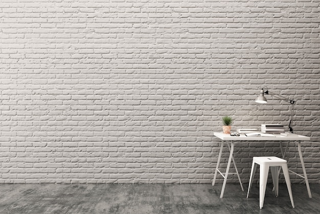 Work space with brick wall and concrete floor