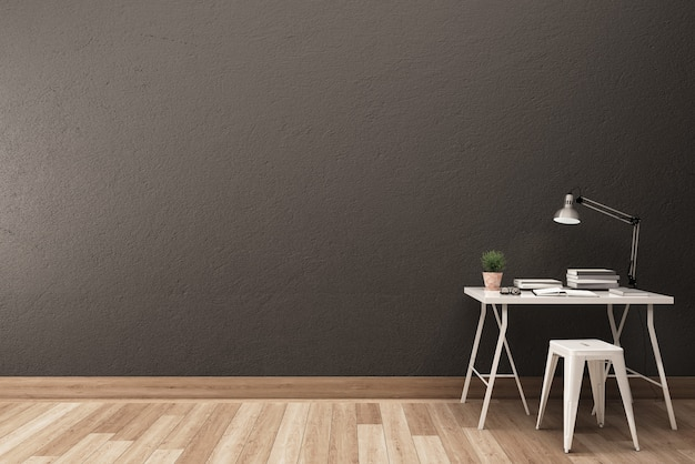 Work space with gray wall and wood floor
