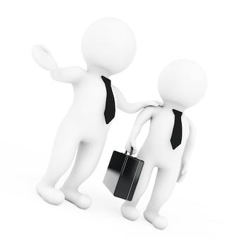 私たちと一緒に働くコンセプト。 3dマネージャーは白い背景にスキルを採用します。 3dレンダリング
