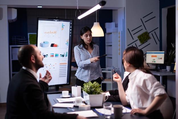 회사 회의실에서 초과 근무 모니터를 사용하여 재무 전략을 가리키는 워커 홀릭 사업가