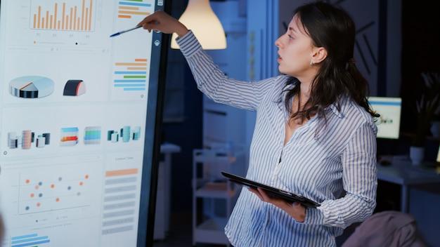회사 비즈니스 사무실 회의실에서 과로하는 모니터에 대한 관리 솔루션 포인팅 전략을 설명하는 일중독자 여성 사업가입니다. 저녁에 아이디어를 논의하는 다민족 동료
