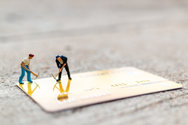 Worker are working on credit card