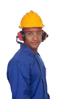 Worker construction with glasses and helmet
