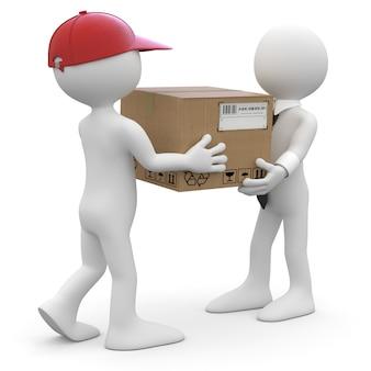 Рабочий, доставляющий посылку бизнесмену