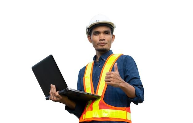 白い背景の上の労働者エンジニアエンジニアリングアーキテクチャの建設