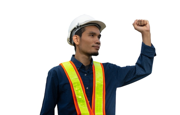Worker engineer engineering architecture construction on white background