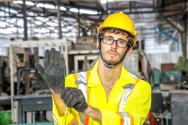 Worker engineer industry.engineer working in industrial company with mechanical engineering.