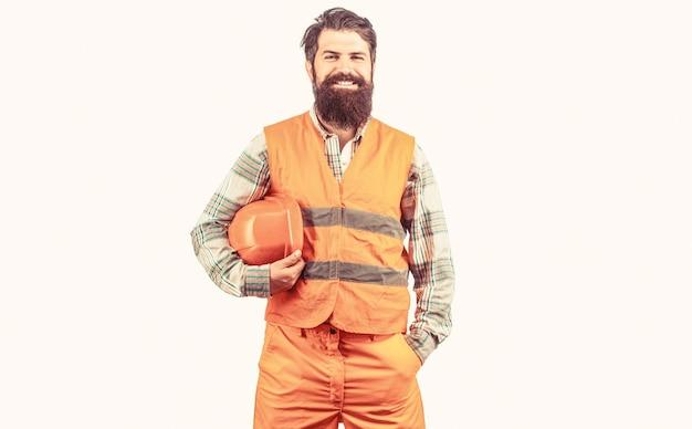 건설 제복을 입은 노동자 남자 건축업자 안전 모자 감독의 산업 건축업자