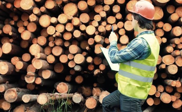 ヘルメットの労働者は木材を数えます