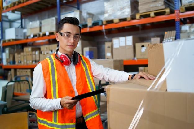 Worker of logistics warehouse