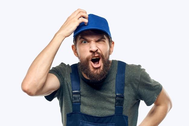 Worker man uniform delivery service emotions studio light space