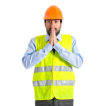 Worker pleading over white background