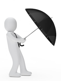 Worker protecting with an umbrella