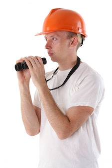 Worker with binoculars isolated on white