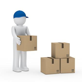 Operaio con scatole blu tappo di smistamento
