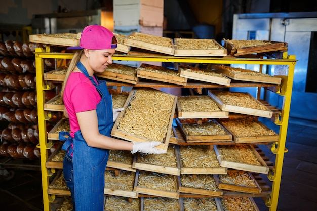 Worker with a box of pasta. the girl works on the production of spaghetti. making noodles. pasta factory.