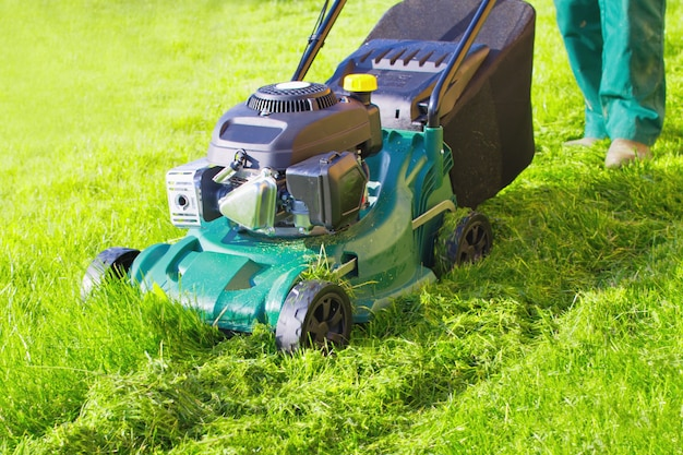 Worker with lawnmower mows green grass. mulching the grass at backyard.