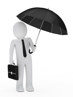 Worker with tie holding an umbrella