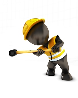 Worker with yellow hat and tenderizer