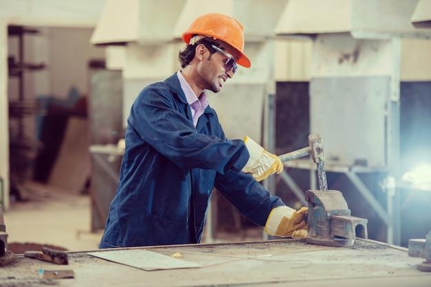 Workers in iron steel industrial factory