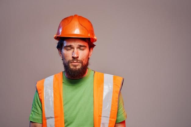 Workers man construction professional uniform