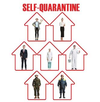 コロバニルスの蔓延を防ぐために検疫を続けているさまざまな職業の労働者。肺炎中国ウイルスの流行、パンデミックに対する保護。気分が悪いときは家にいてください。予防、安全の概念。