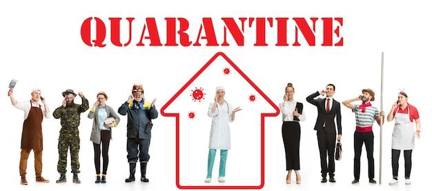 コロバニラスの蔓延を防ぐために検疫を続けているさまざまな職業の労働者。肺炎中国ウイルスの流行、パンデミックに対する保護。気分が悪いときは家にいてください。予防、安全の概念。