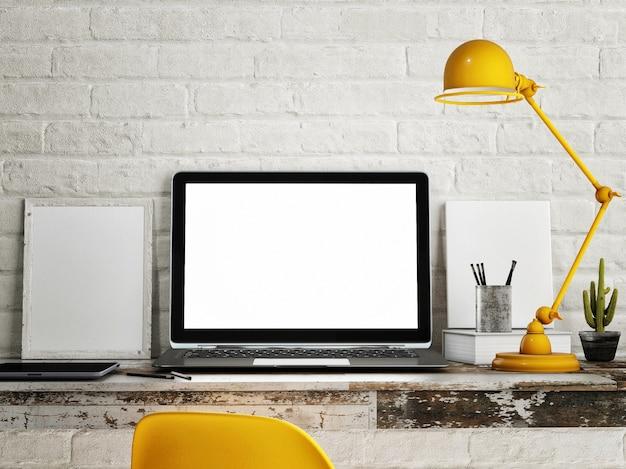 작업 영역, 빈 노트북 화면, 노란색 테이블 및 램프.