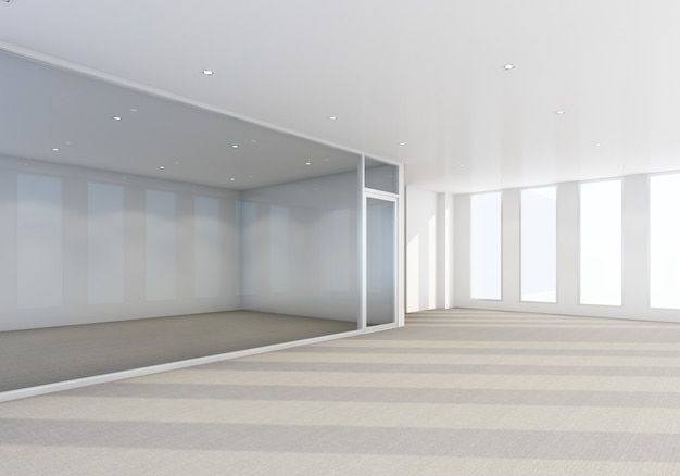 Рабочая зона в современном офисе с ковровым покрытием и интерьером конференц-зала 3d-рендеринга