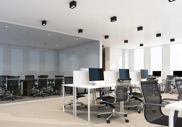 Рабочая зона в современном офисе с ковровым покрытием и конференц-залом. интерьер 3d рендеринг