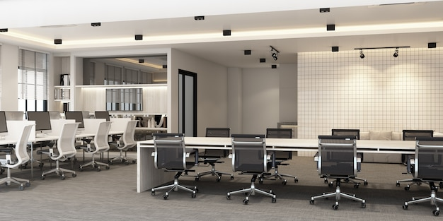 カーペットの床と会議室のあるモダンなオフィスの作業エリア